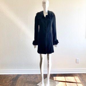 INC Size M Wool & Faux Fur Winter Swing Coat Black